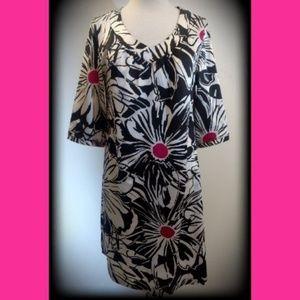"Chico's Black White Pink Floral Print 3/4"" Dress"